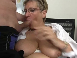 Old blonde is so horny while sucking a big dick mature blonde big tits video