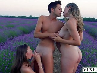 VIXEN Best friends share everything when on vacation blonde blowjob brunette video