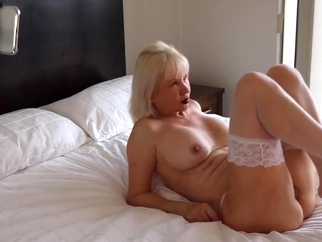 Joana Mercury mature blonde stockings video